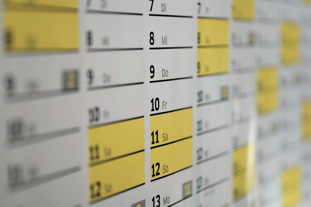 枠が細長いカレンダー