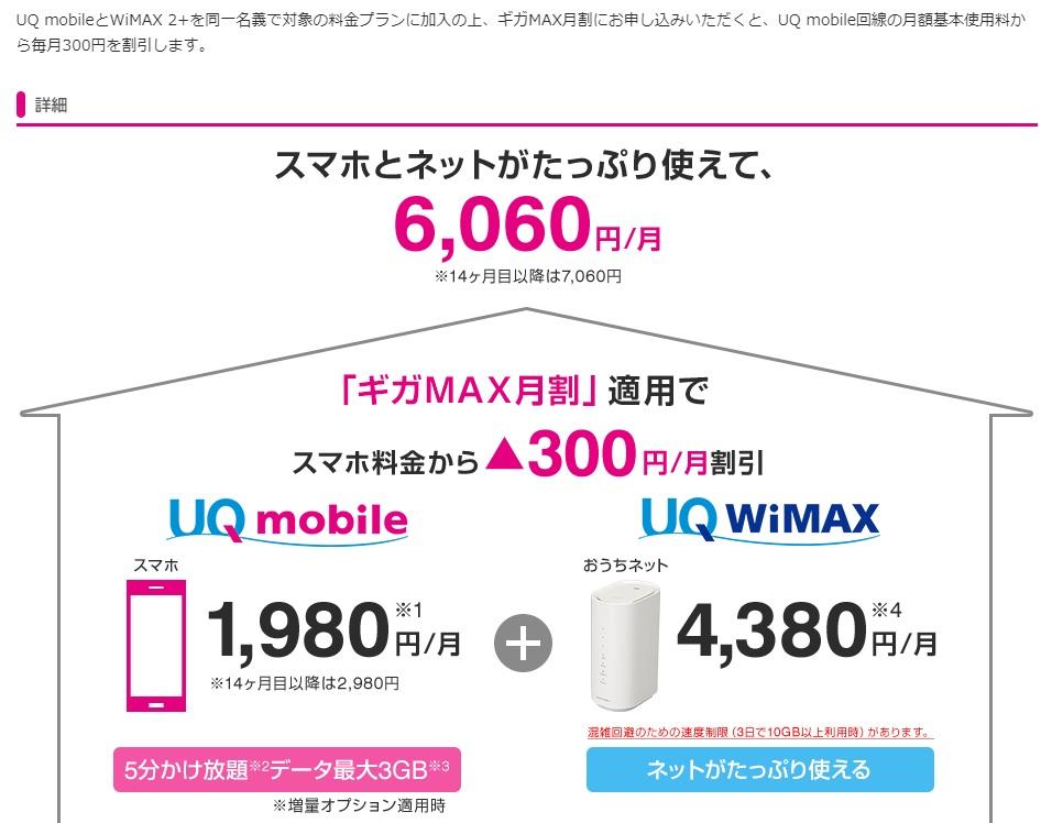 UQ WiMAX ギガMAX月割 概要について