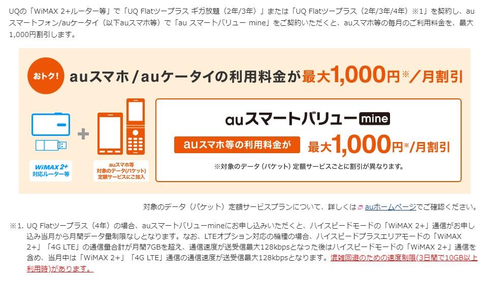 UQ WiMAX auスマートバリューmine
