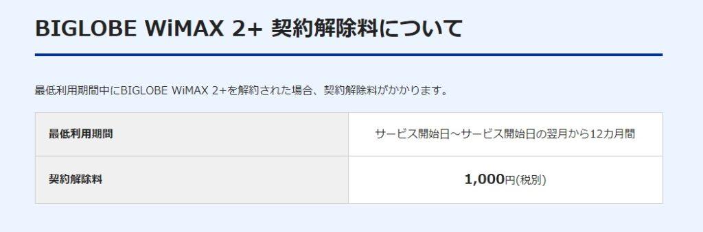 BIGLOBE WiMAX ギガ放題1年 2019.10.1 違約金について